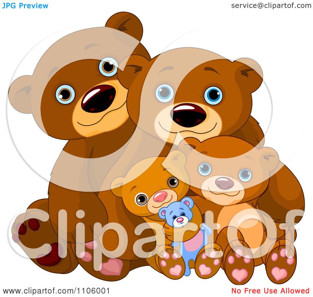 clipart happy bear familiy cuddling together