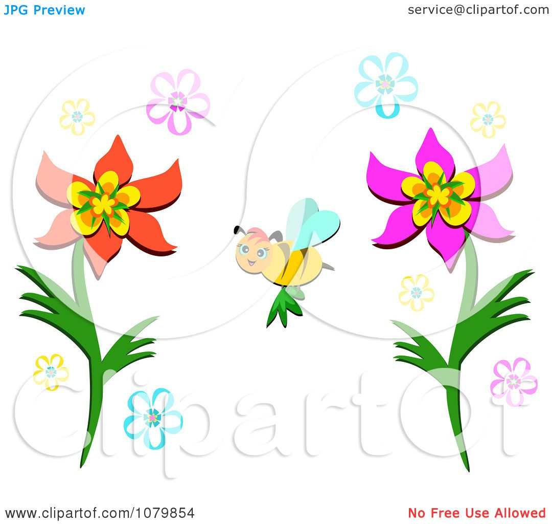 Clipart Happy Bee Pollinating Flowers - Royalty Free Vector ...