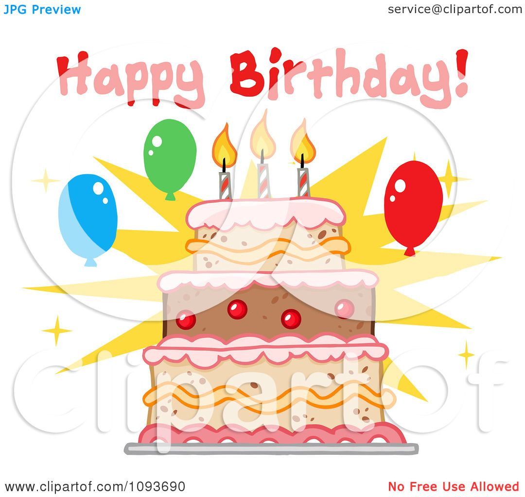 Clipart Happy Birthday Greeting Over A Cake With Three ...