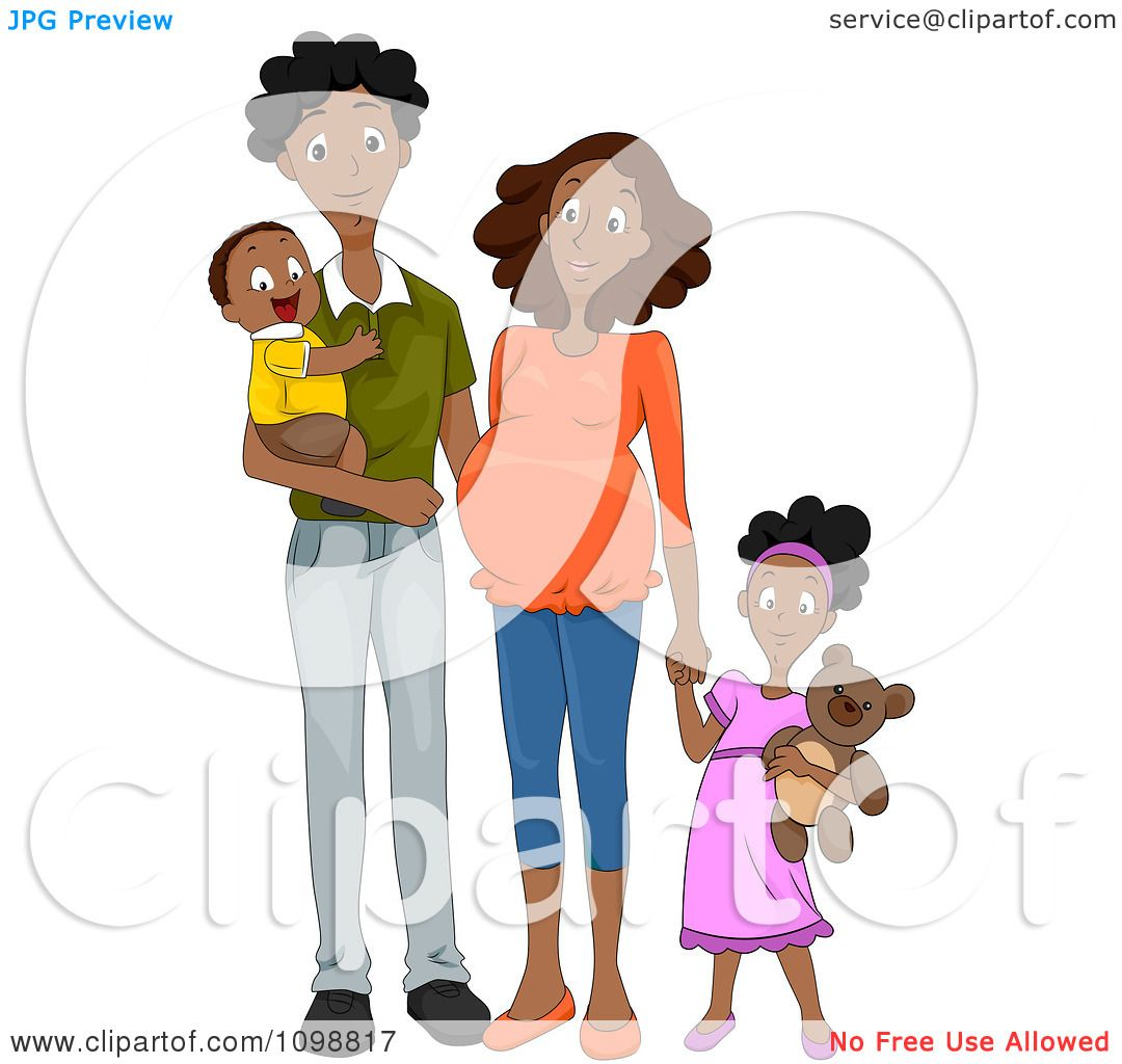 Clipart Happy Black Family With A Pregnant Mommy Holding