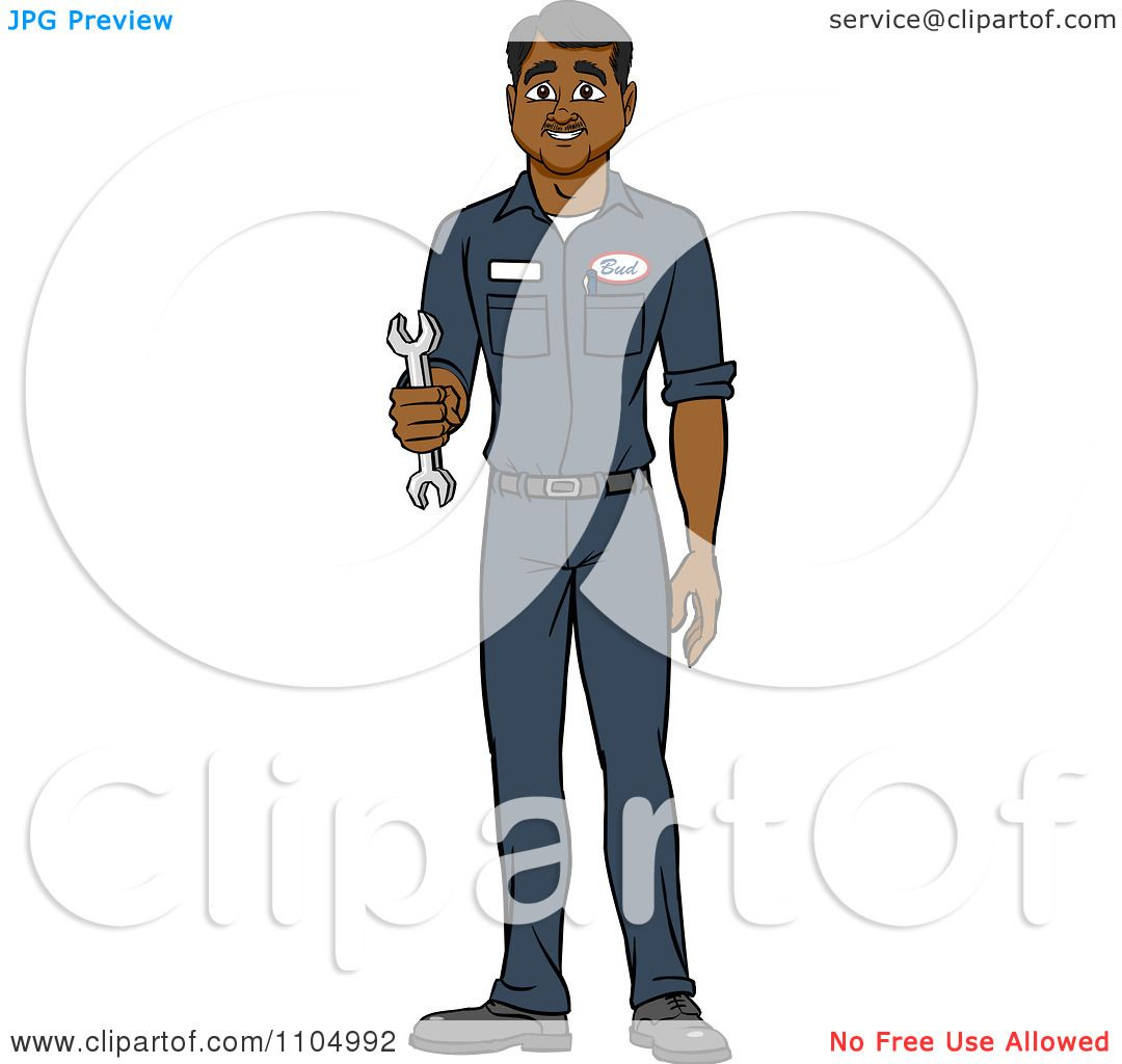 Clipart Happy Black Male Auto Mechanic Holding A Wrench
