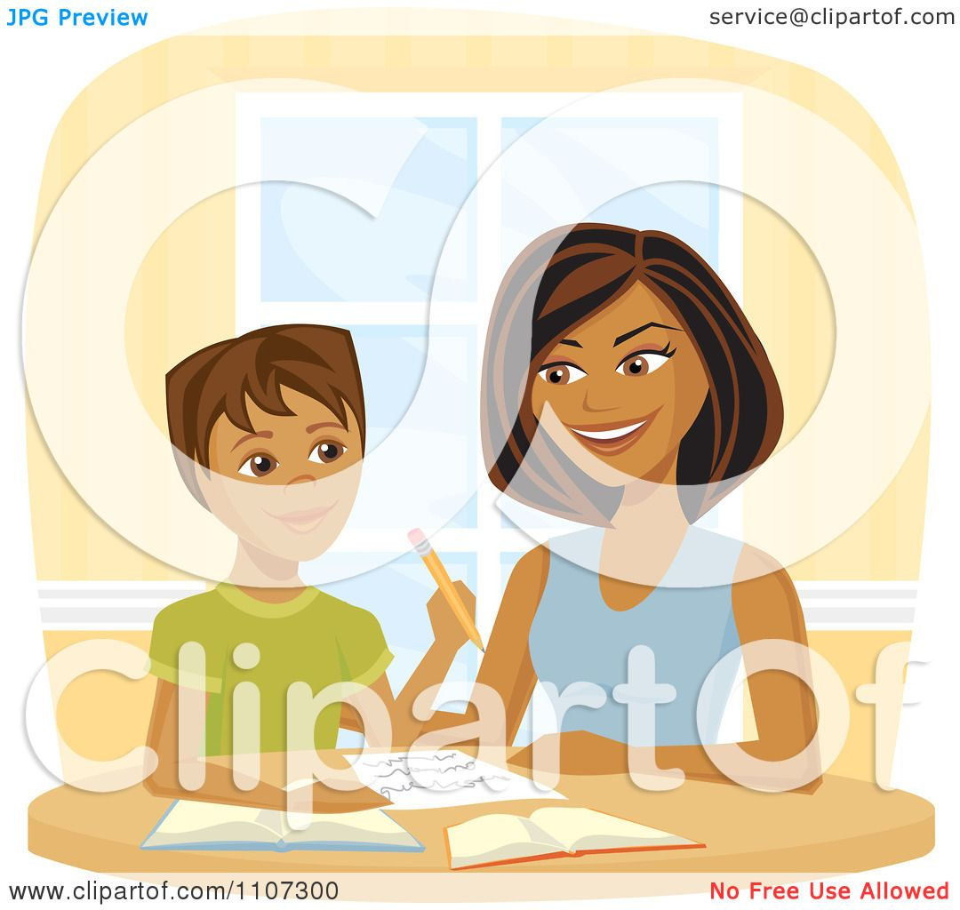 Clipart Happy Black Woman Homeschooling Her Son - Royalty ...
