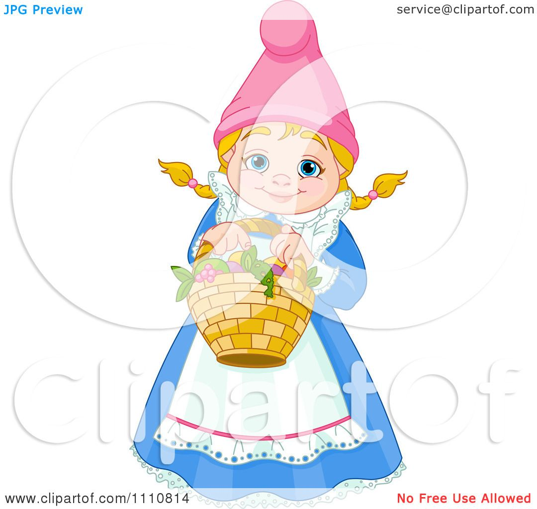 Gnome Clip Art: Clipart Happy Blond Garden Gnome Woman Holding A Basket