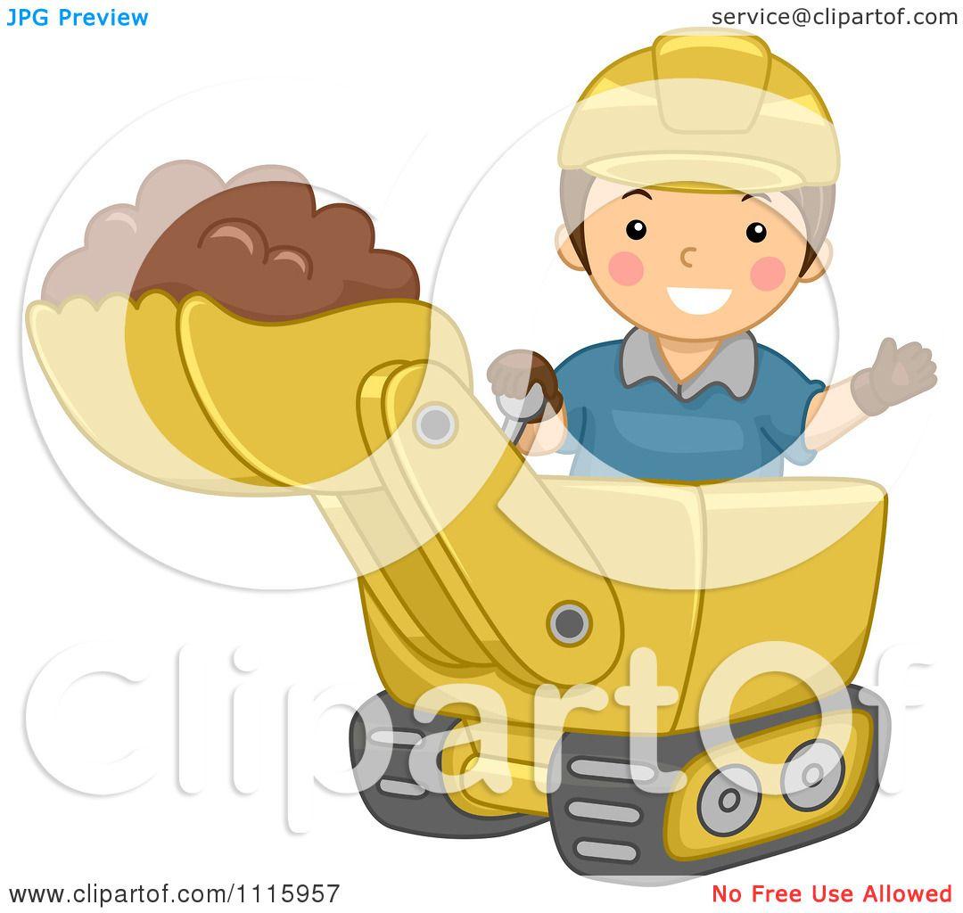 clipart happy boy operating a bulldozer royalty free vector illustration by bnp design studio. Black Bedroom Furniture Sets. Home Design Ideas
