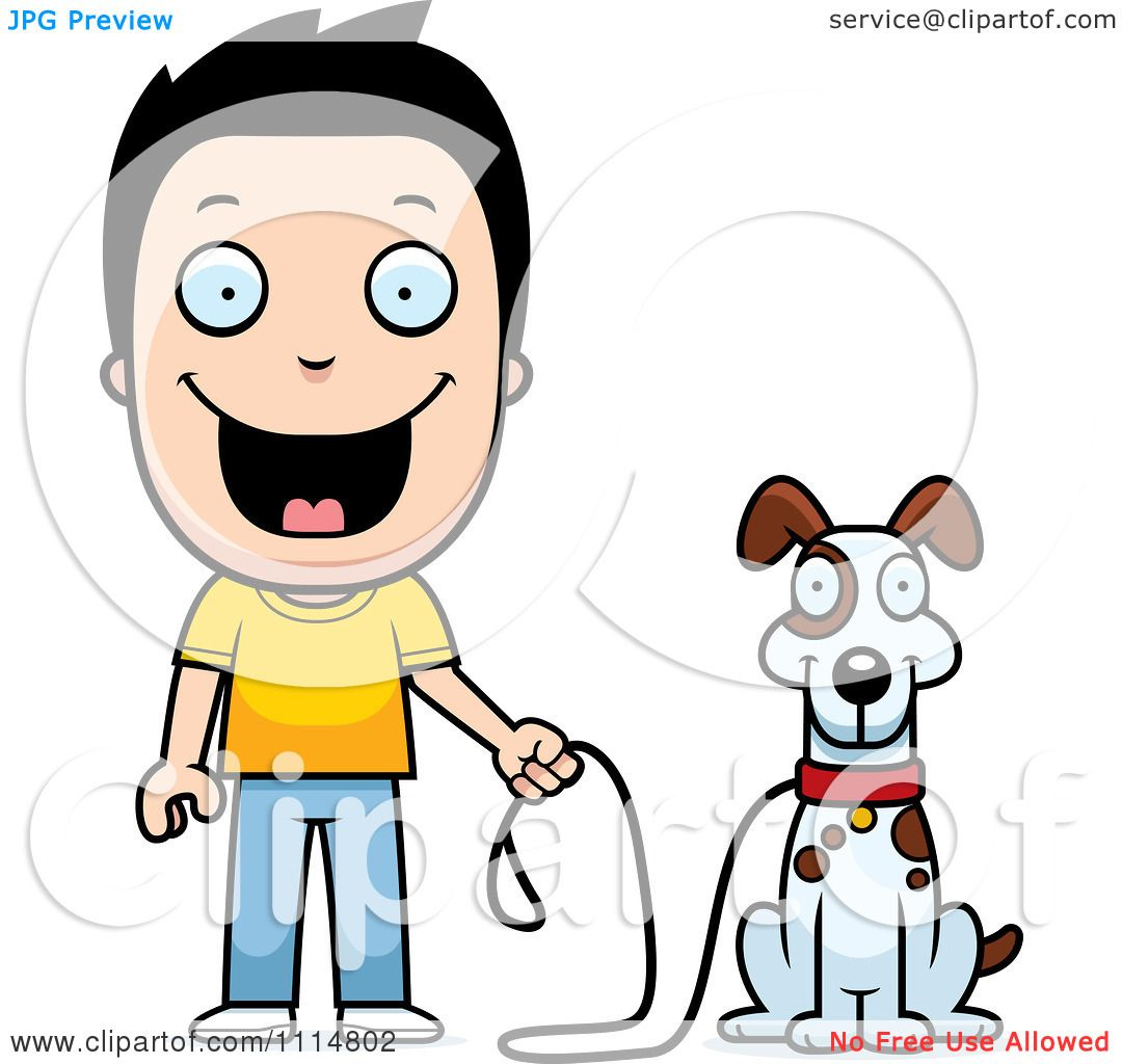 Clipart Happy Boy Ready To Walk His Dog