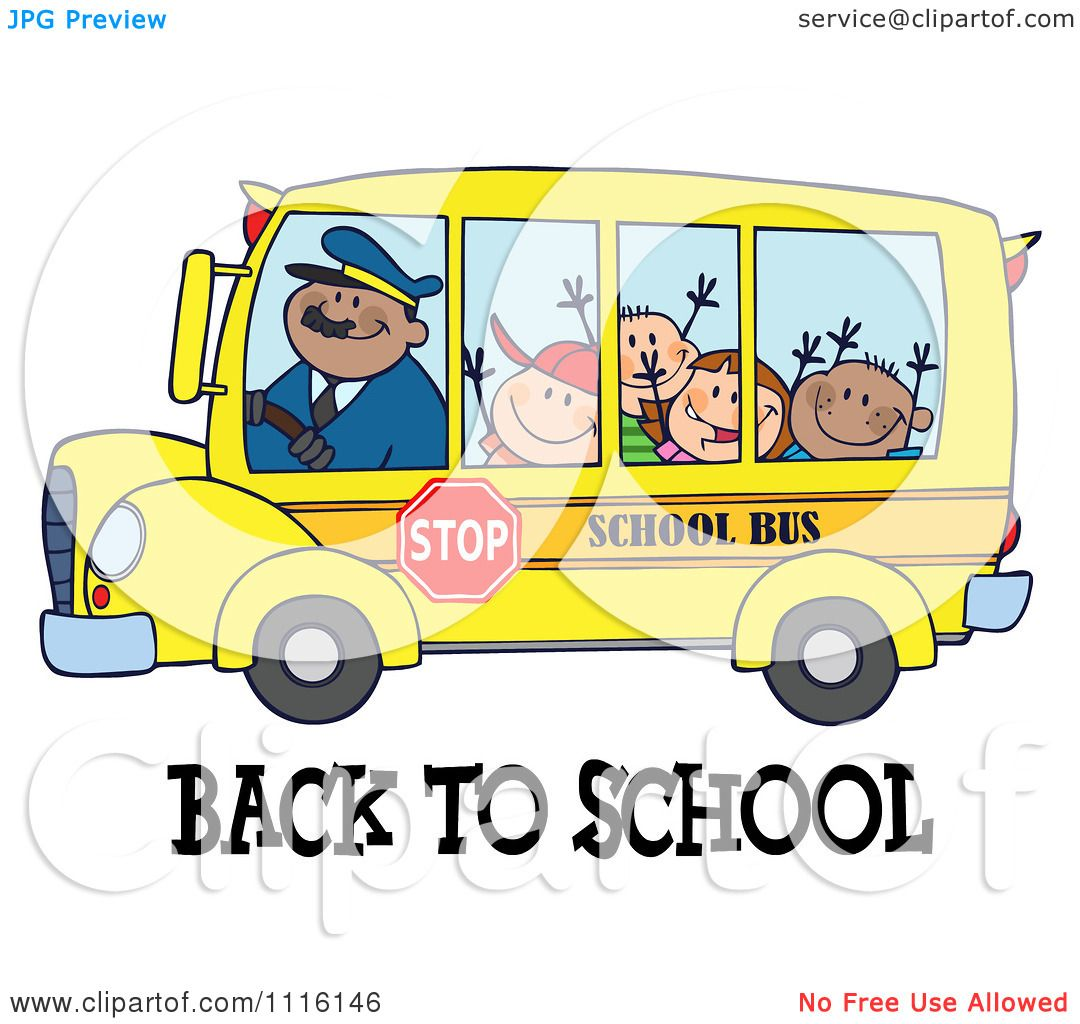 Clipart Happy Bus Driver And Children Over Back To School