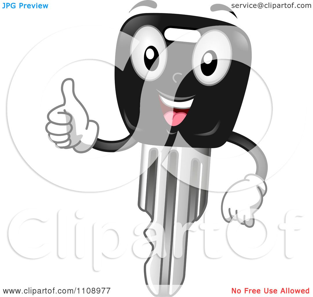 Clipart Happy Car Key Mascot Holding A Thumb Up - Royalty ...