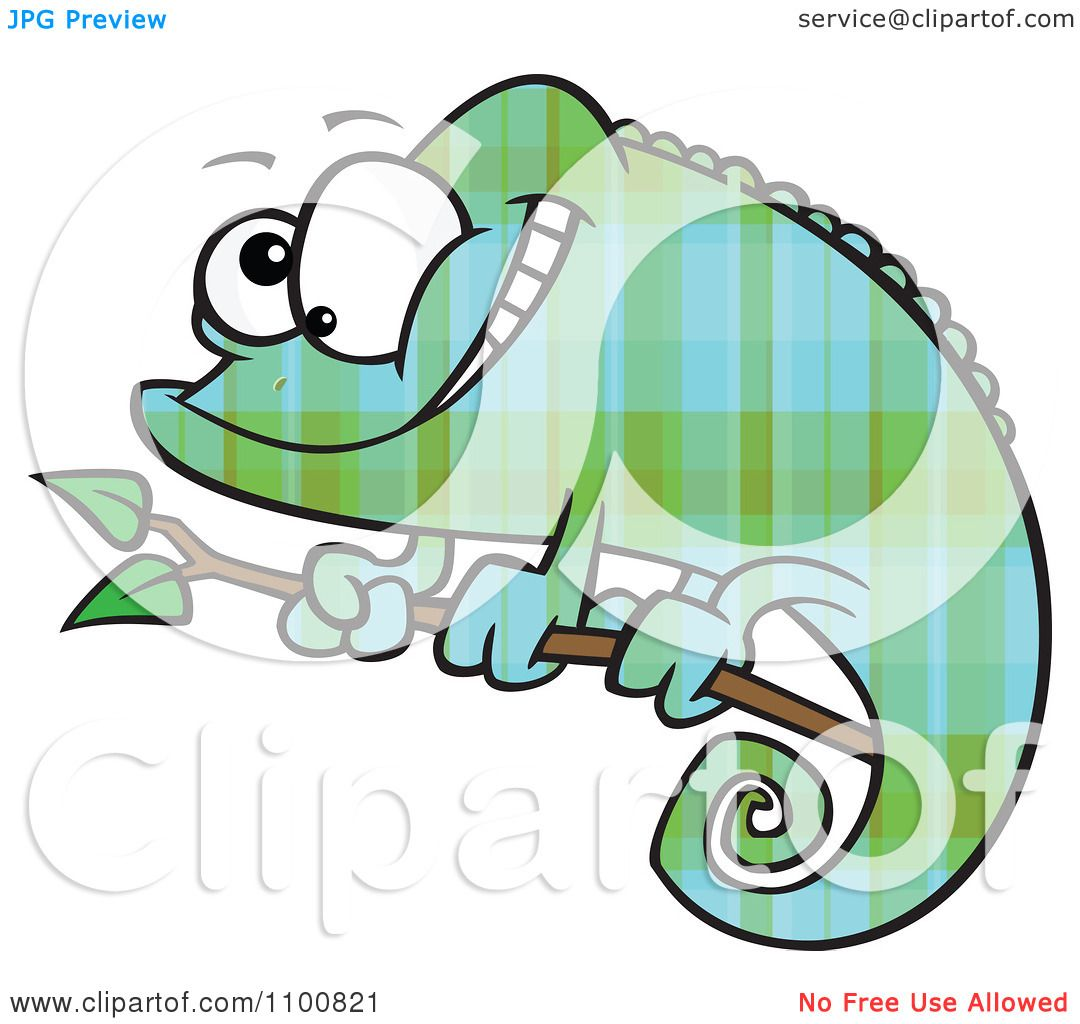 Clipart Happy Cartoon Green And Blue Plaid Chameleon Lizard ...