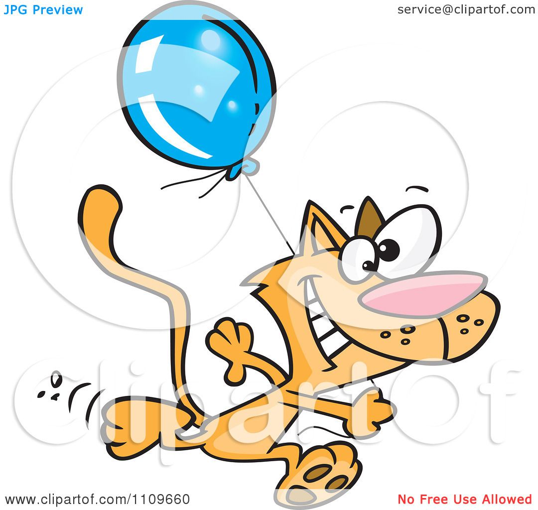 Clipart Happy Cat Running With A Birthday Balloon