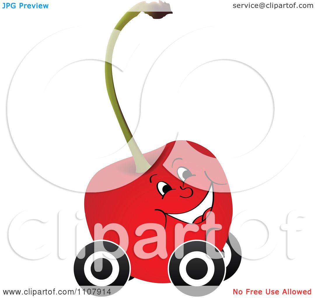 Maraschino Cherries Clip Art Clipart happy cherry on wheels