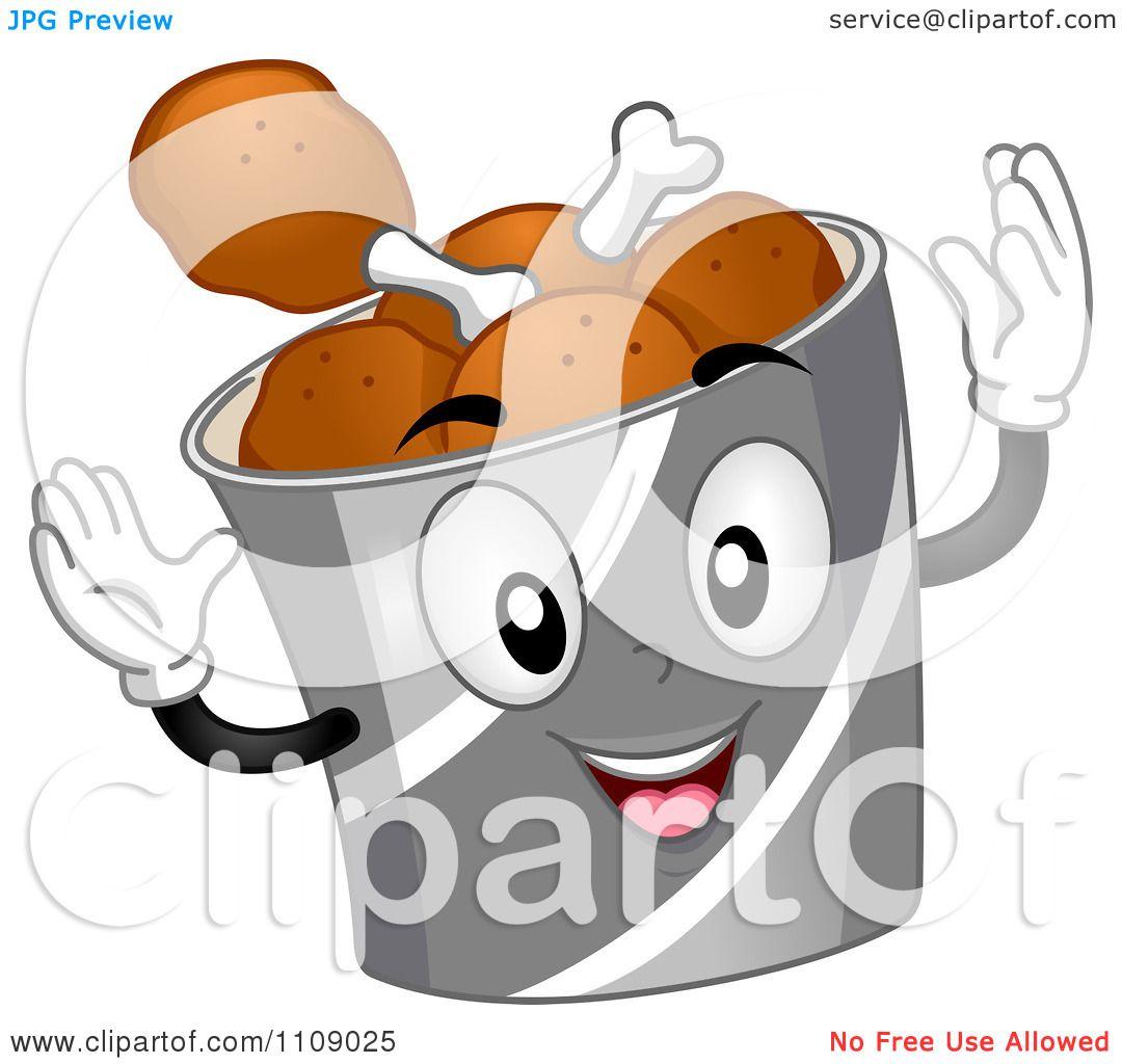 Clipart Happy Chicken Drumstick Bucket Mascot - Royalty Free Vector ...