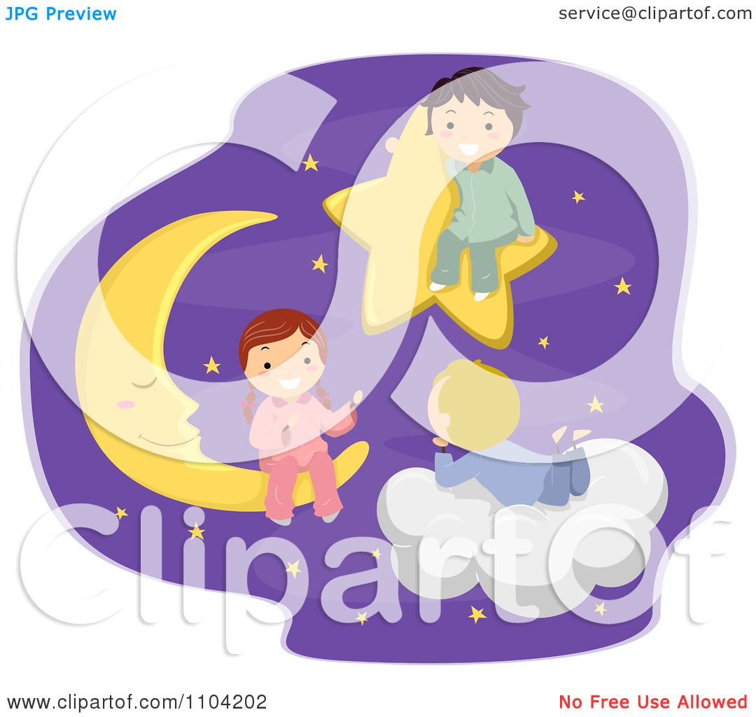 Clipart Happy Children Talking In The Night Sky On A Star ...