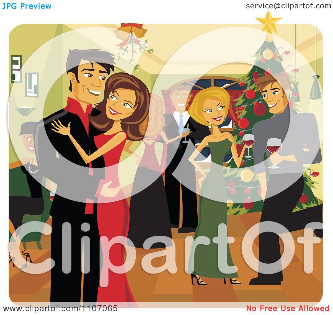 Clipart Happy Christmas Couple Kissing Under Mistletoe At ...