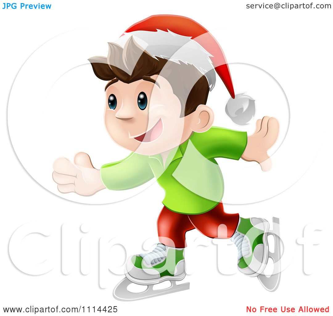 Clipart Happy Christmas Elf Boy Ice Skating And Wearing A