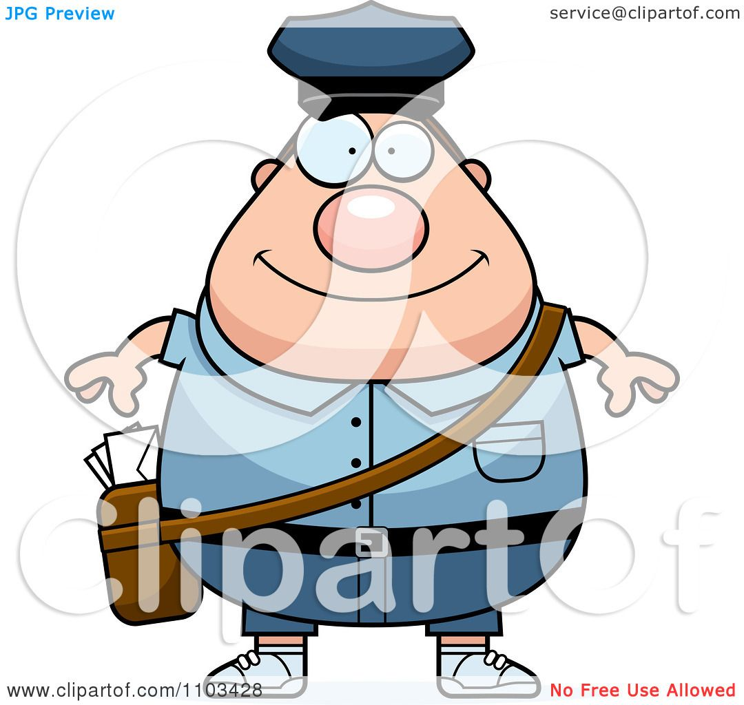 Clipart Happy Chubby Caucasian Mail Man Postal Worker Royalty