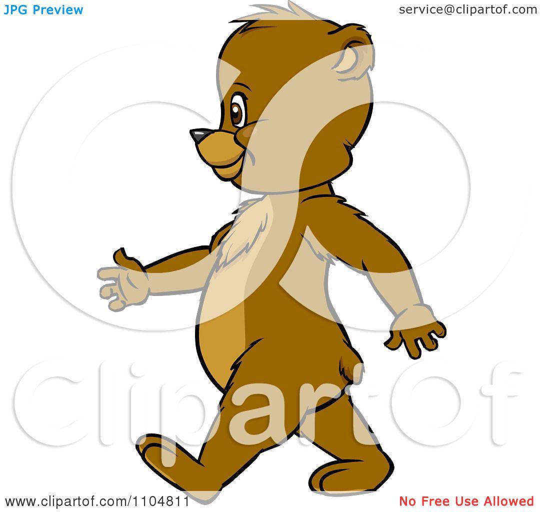 Clipart Happy Cute Bear Cub In Profile Walking Upright ...