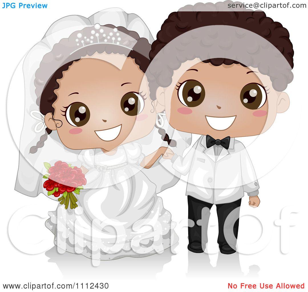 Clipart Happy Cute Black Kid Wedding Couple - Royalty Free ...