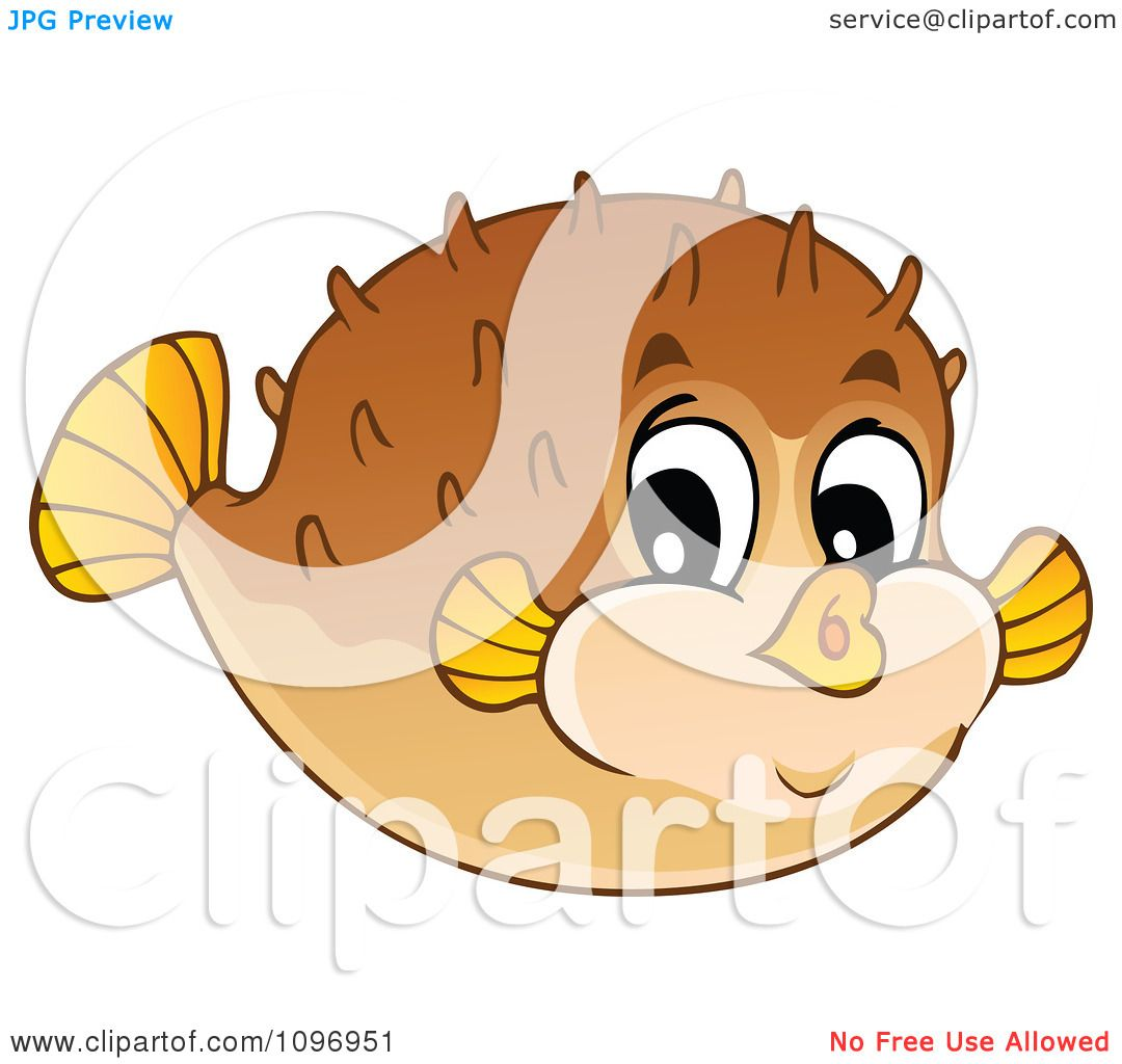 Clipart happy cute puffer fish royalty free vector for Baby fish song