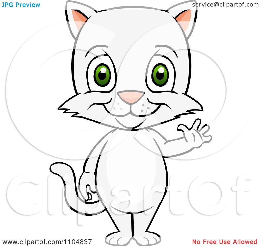 Clipart Happy Cute White Cat Standing And Waving Royalty