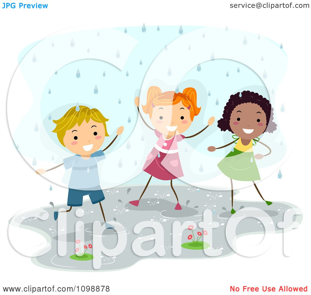 Clipart Happy Diverse Children Playing In The Rain ...