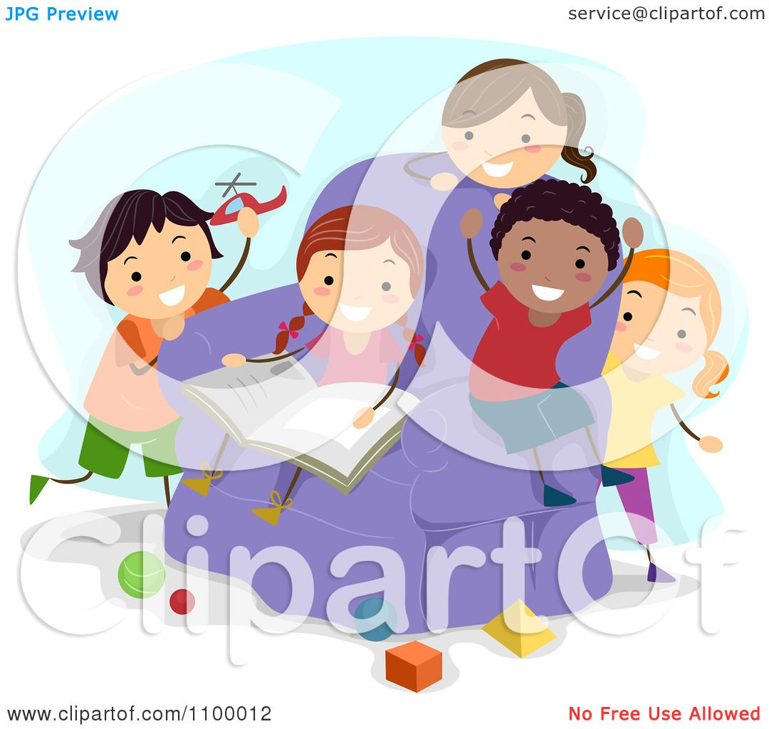 Clipart Happy Diverse Kids Reading And Playing With Shapes ...