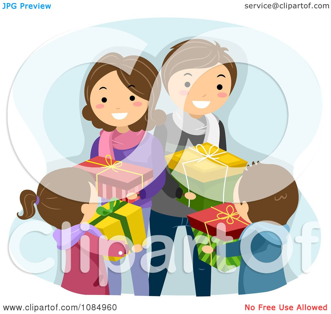 Clipart Happy Family Exchanging Christmas Gifts - Royalty ...