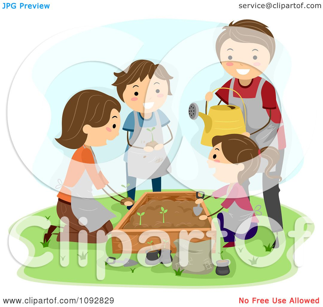 clipart happy family planting a garden royalty free