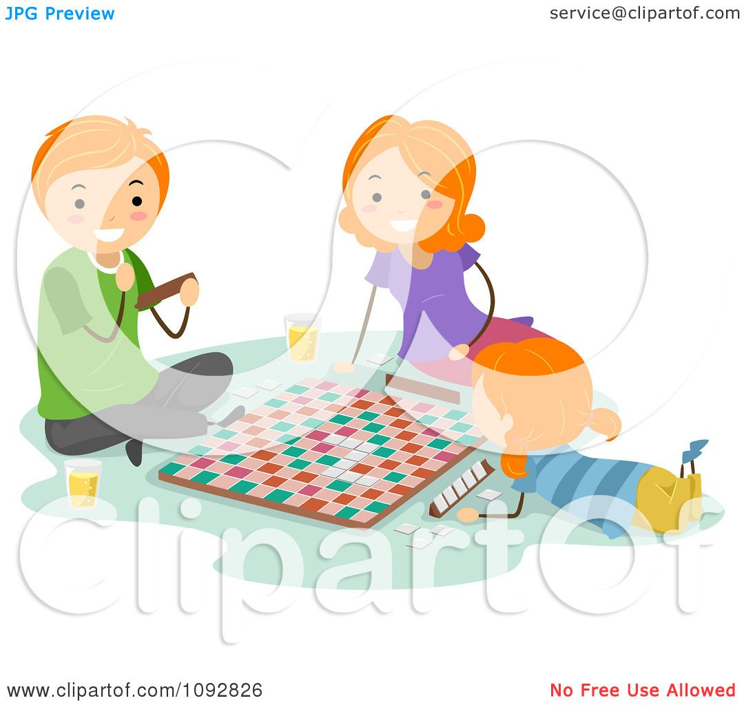Clipart Happy Family Playing A Board Game Together ...