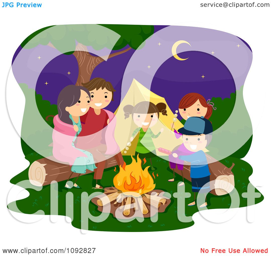 Clipart Happy Family Playing Around A Camp Fire Royalty