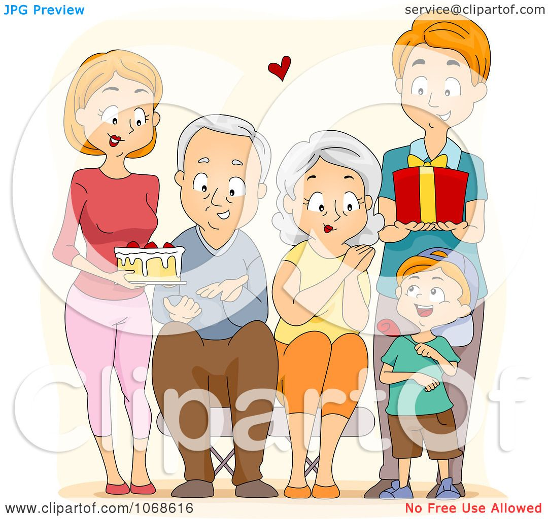 Clipart Happy Family Presenting Their Grandparents With ...