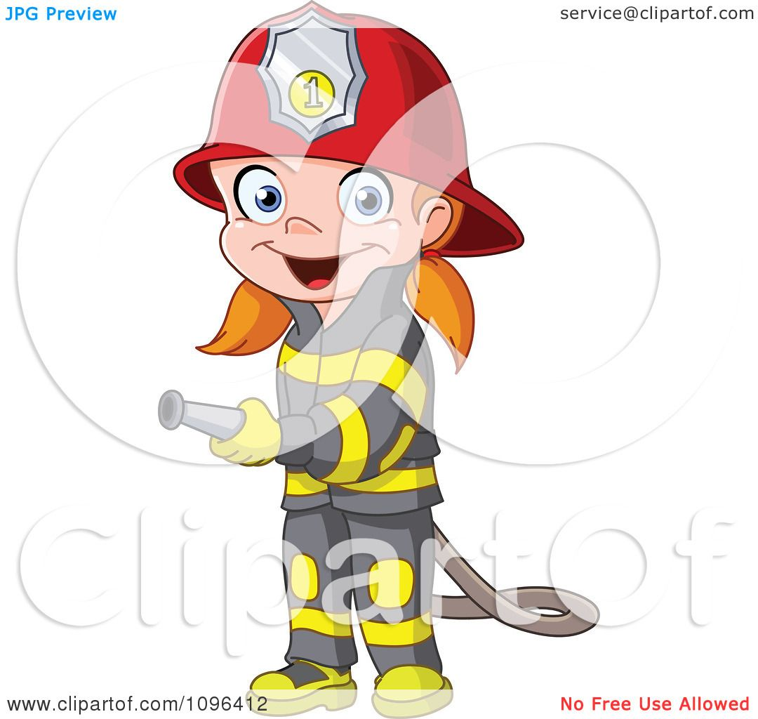 Clipart Happy Girl Fire Fighter Using A Hose - Royalty Free Vector ...