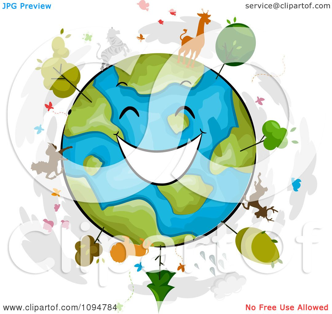 Clipart happy globe with trees and wildlife royalty free - Clipart illustration ...