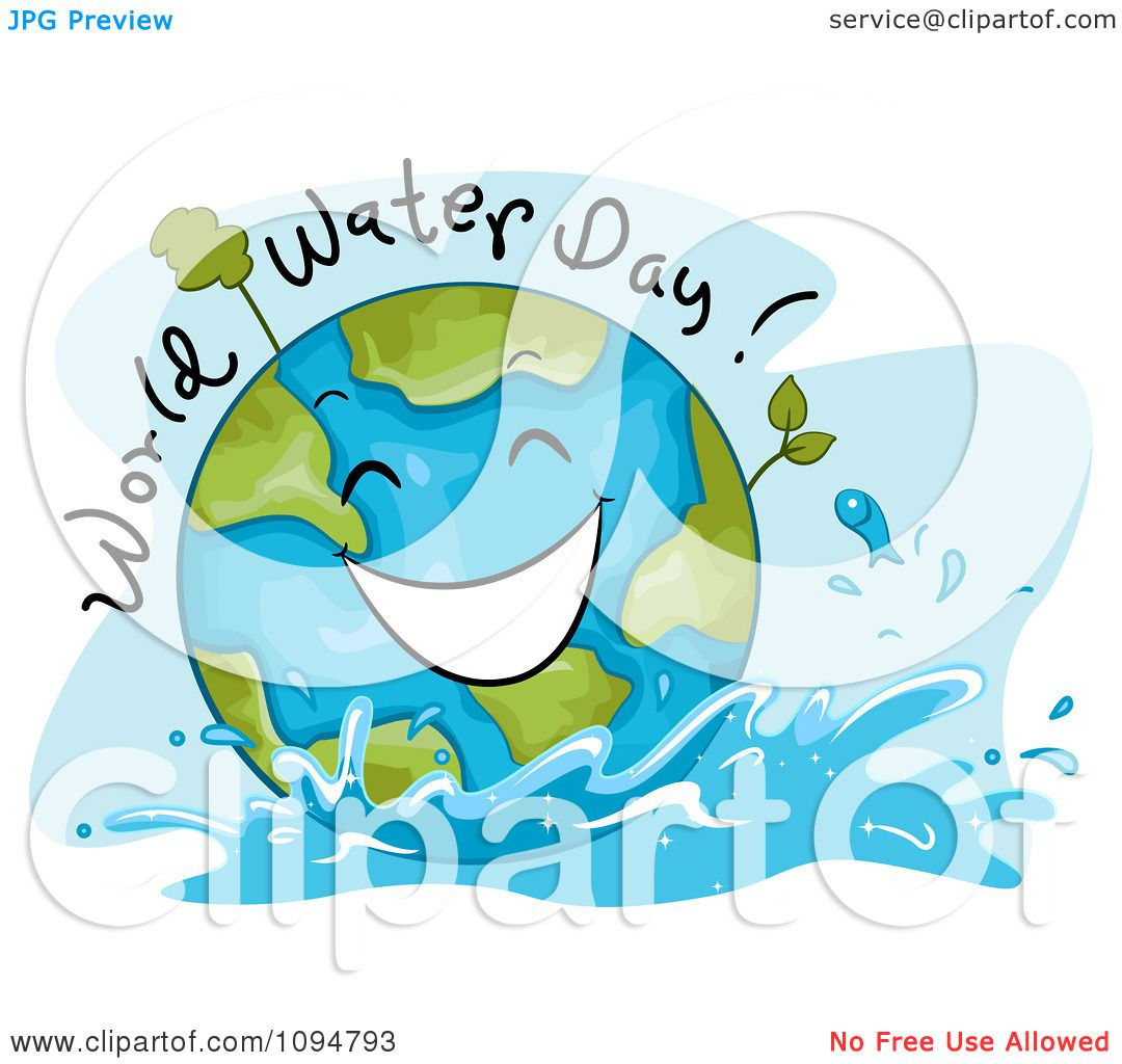 Clipart Happy Globe With World Water Day Text Royalty