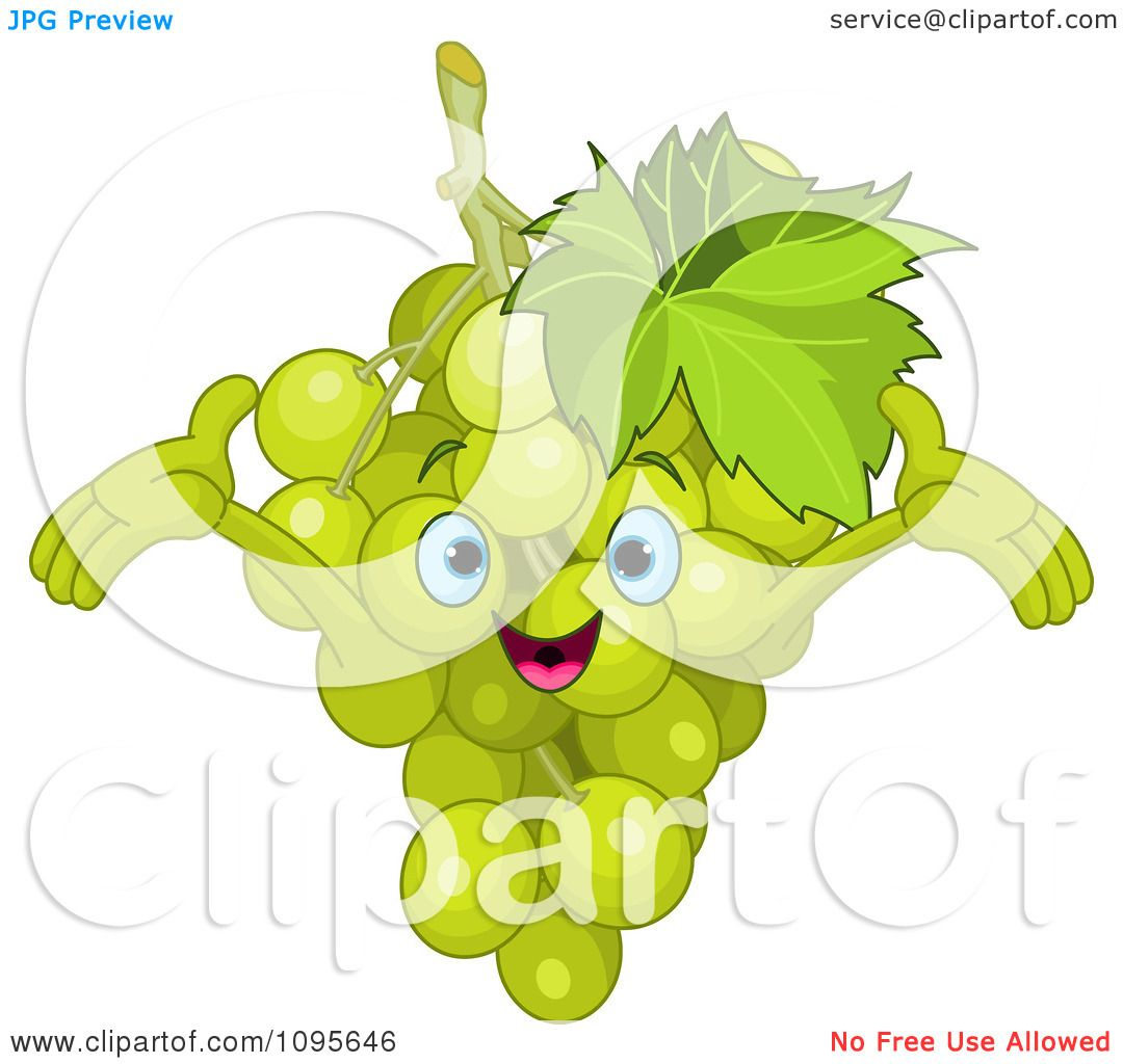 Clipart Happy Green Grapes Character - Royalty Free Vector ...