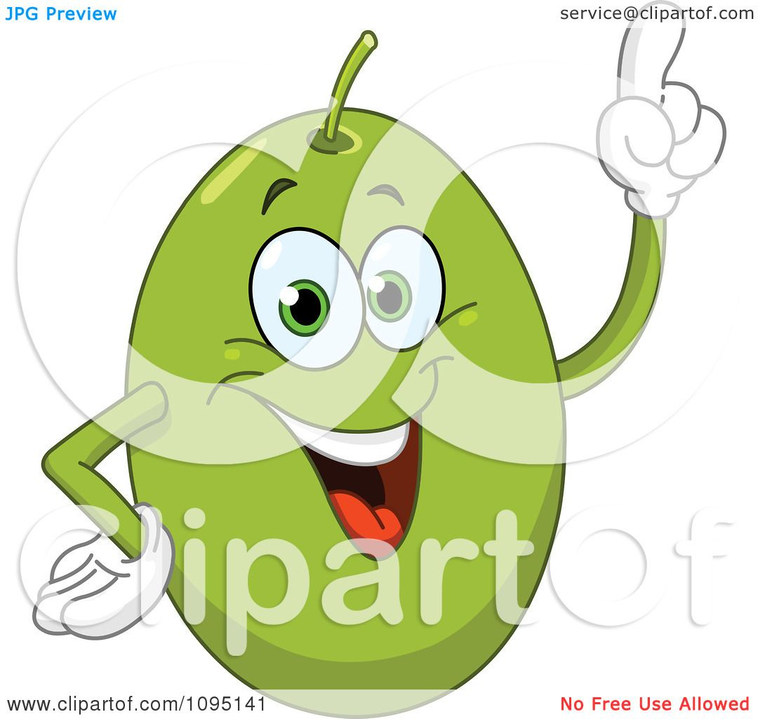 Clipart Happy Green Olive With An Idea - Royalty Free Vector ...