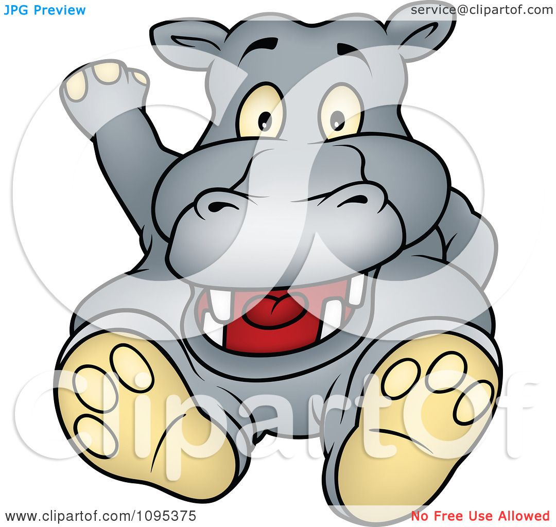 Hippo Art Images: Clipart Happy Hippo Sitting And Waving