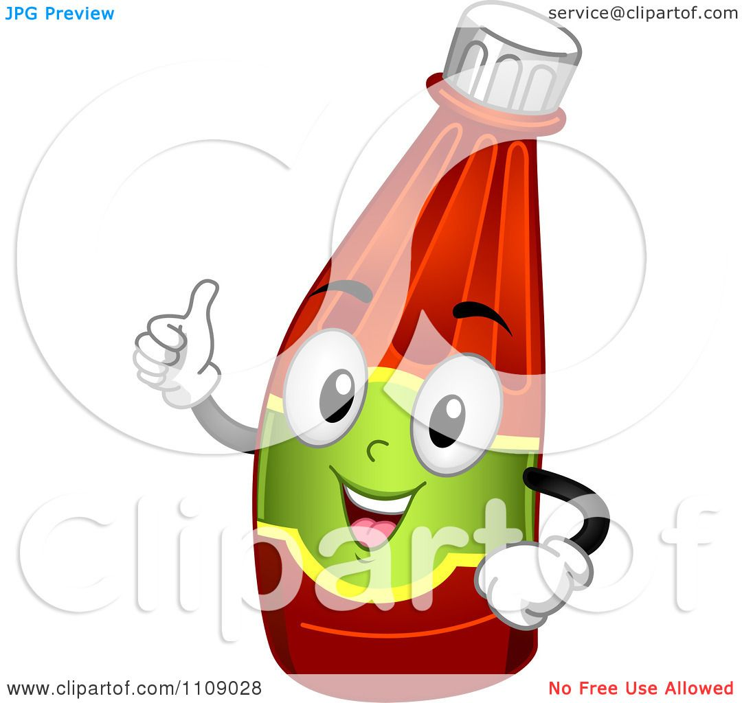 Clipart Happy Ketchup Bottle Mascot Holding A Thumb Up - Royalty ...