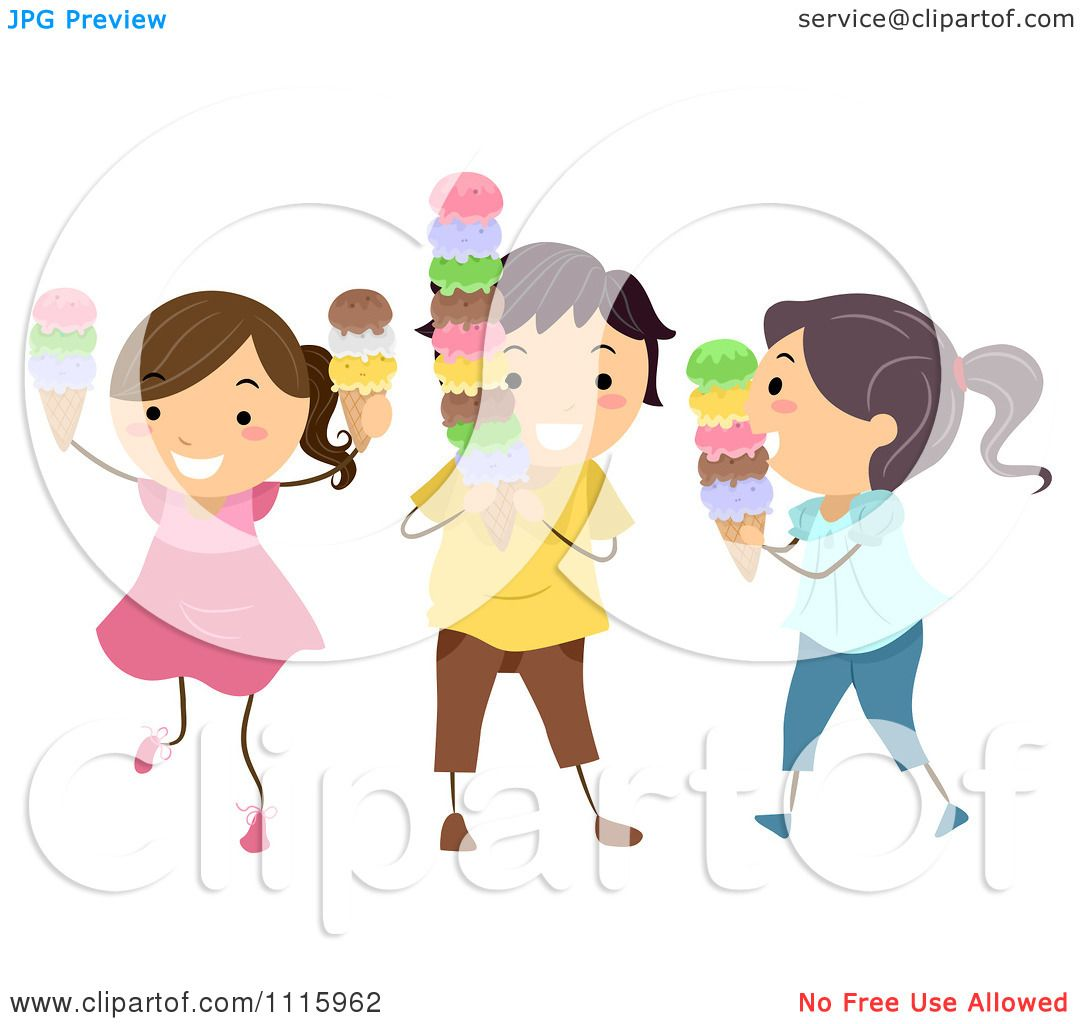 Clipart Happy Kids Eating Ice Cream Cones - Royalty Free ...