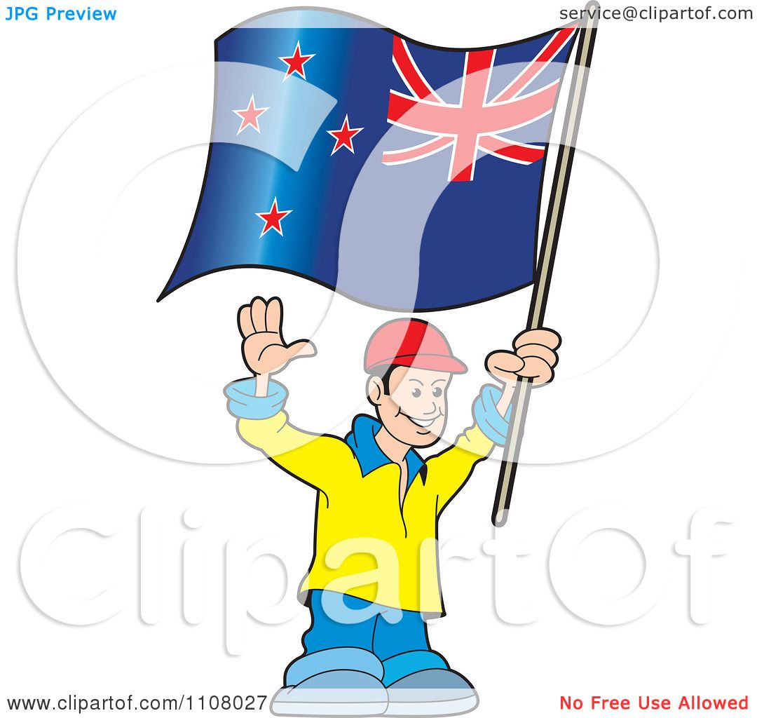 Clipart Happy Man Holding A New Zealand Flag Royalty