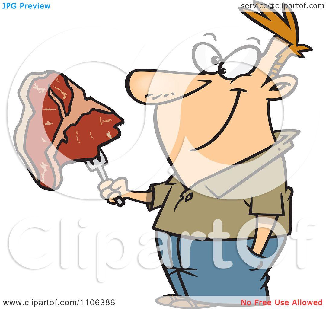 clipart happy man holding a steak on a fork royalty free vector rh clipartof com Cow Head Clip Art Cow Head Clip Art