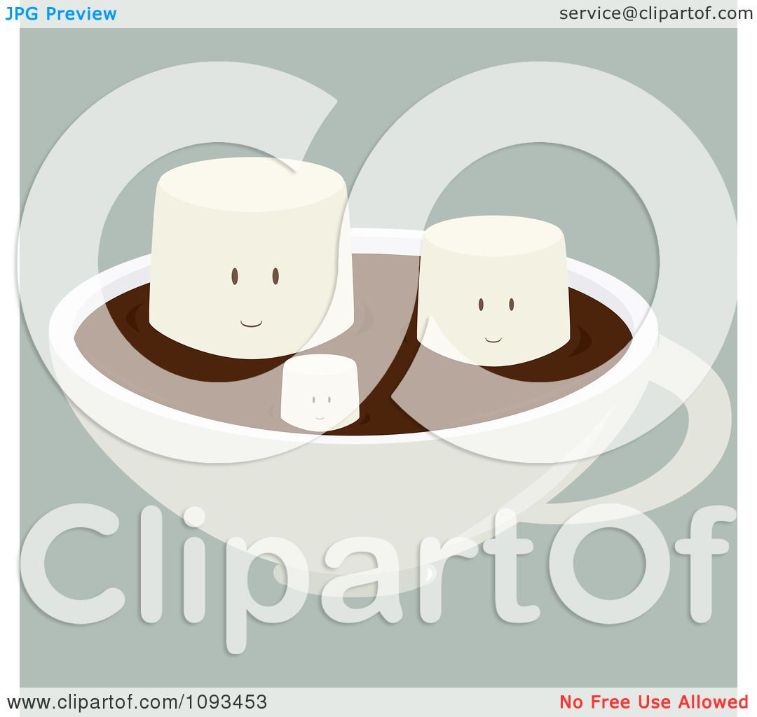 Clipart Happy Marshmallows Floating On Hot Chocolate