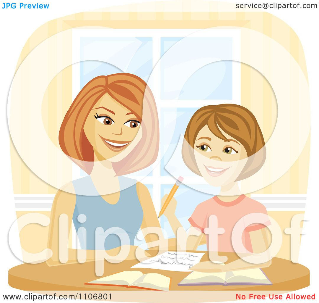 Clipart Happy Mother Homeschooling Her Daughter And Helping Do Homework Royalty Free