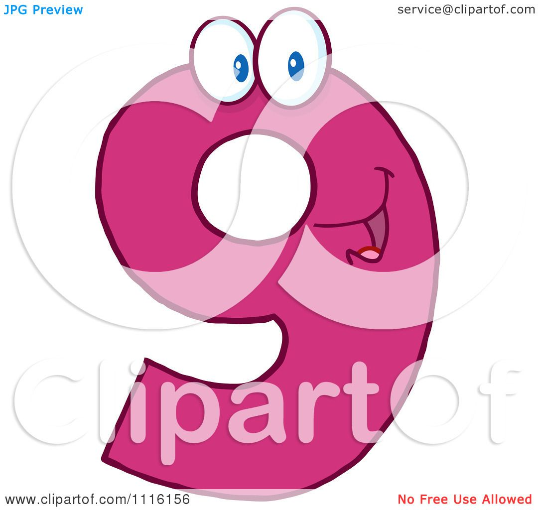 Clipart Happy Pink Number 9 - Royalty Free Vector Illustration by Hit ...