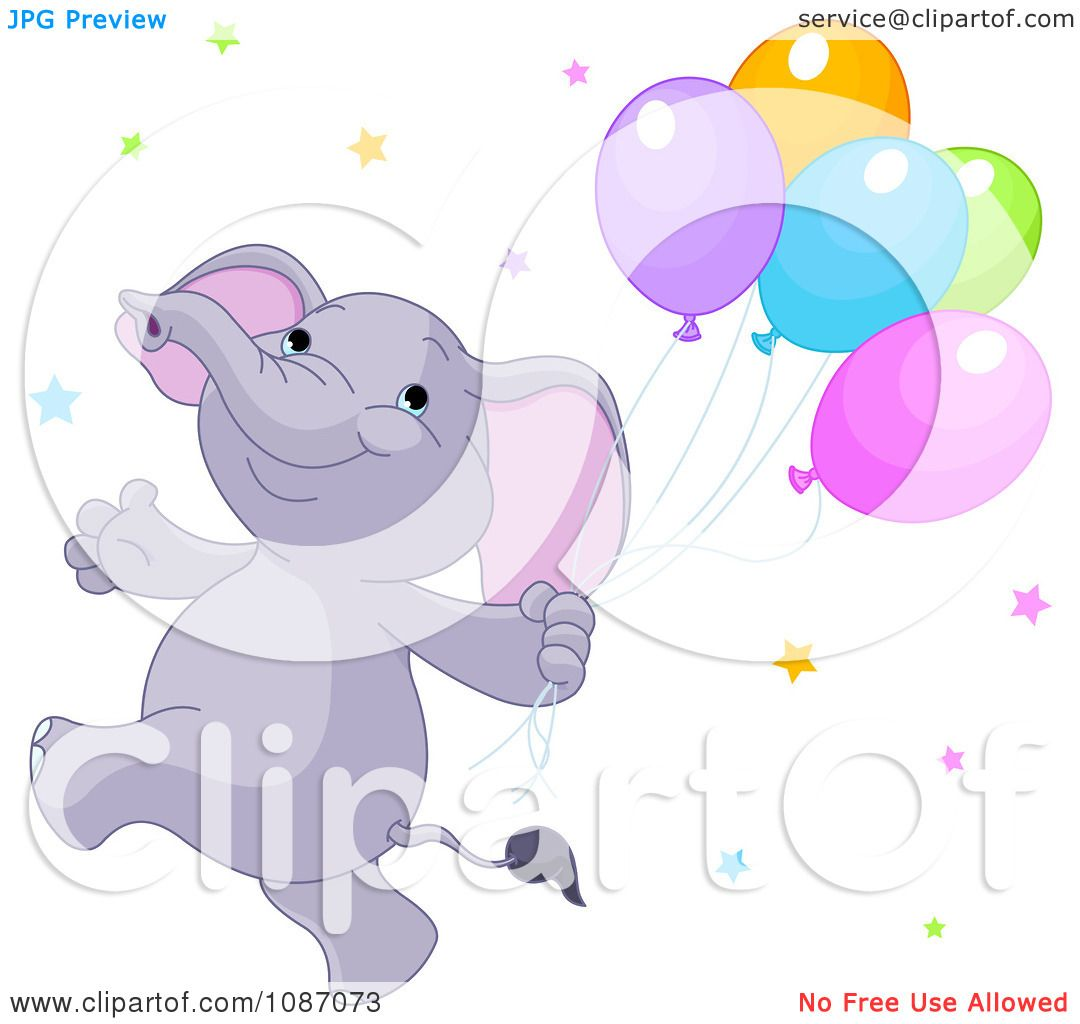 Clipart Happy Purple Elephant Running With Balloons And ...