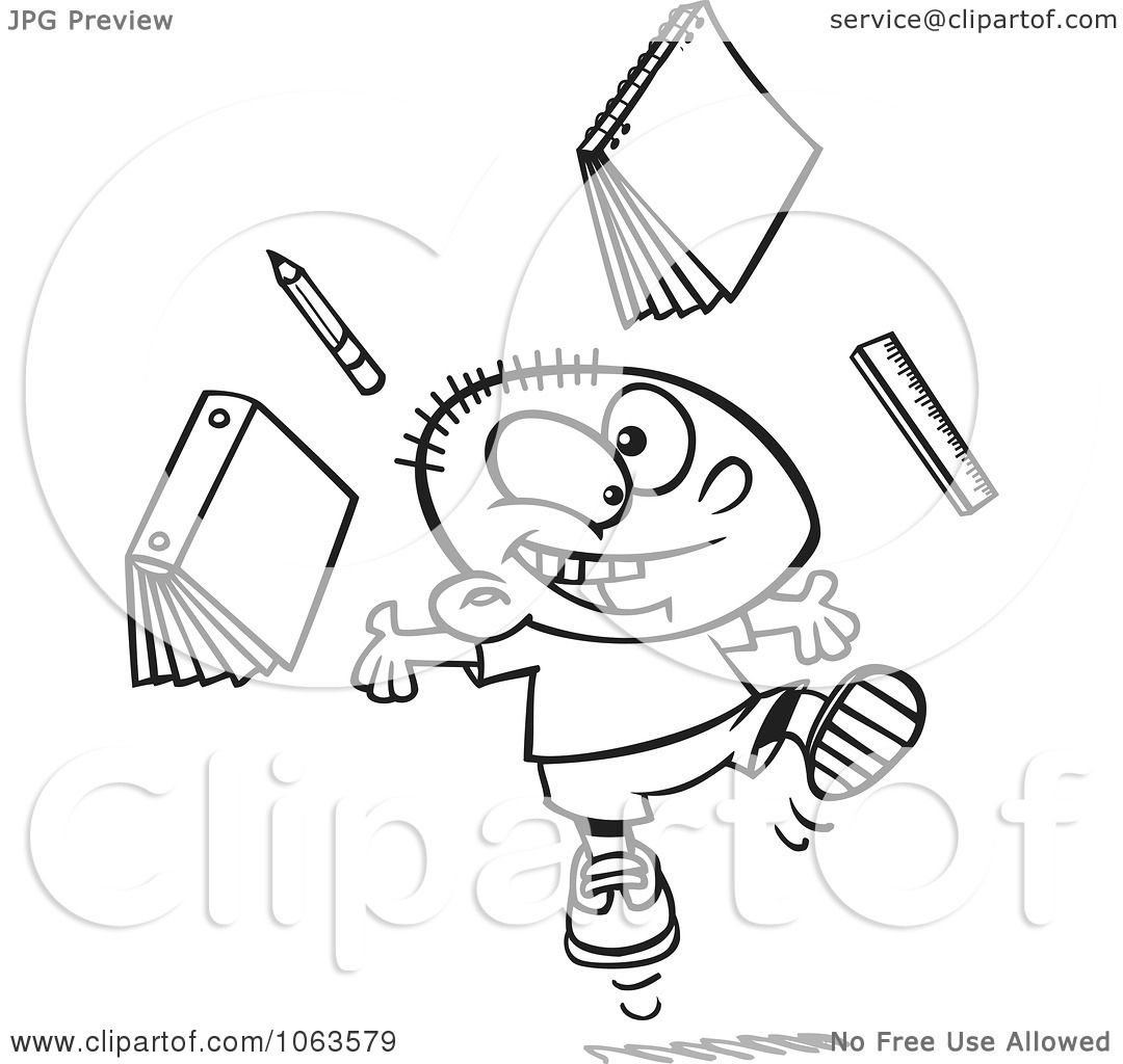 Clipart Happy School Boy Ready For Vacation Black And White Outline