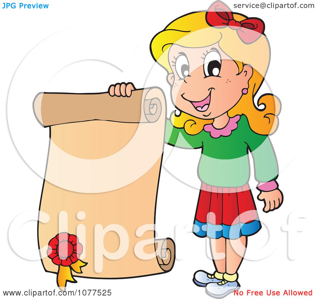 Clipart Happy School Girl Holding A Certificate - Royalty Free ...