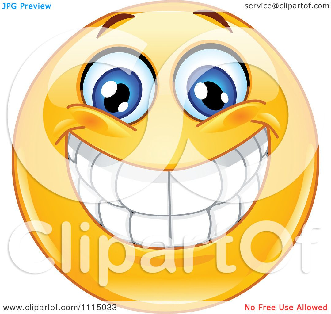 clipart happy smiley face with a big toothy grin royalty free rh clipartof com