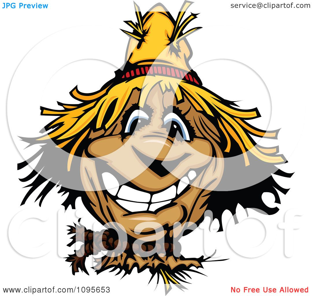 Clipart Happy Smiling Scarecrow Face - Royalty Free Vector    Scarecrow Face Clipart