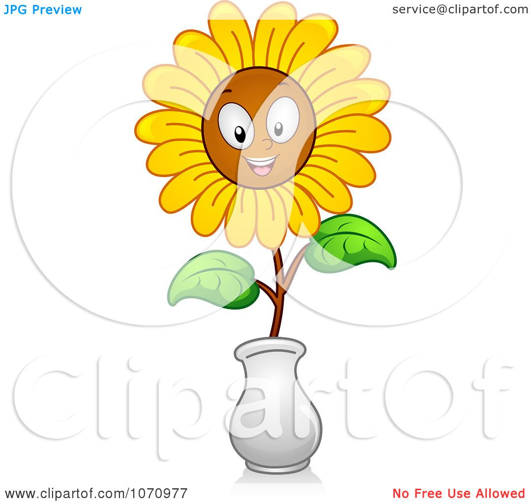 Clipart Happy Sunflower In A Face - Royalty Free Vector ...