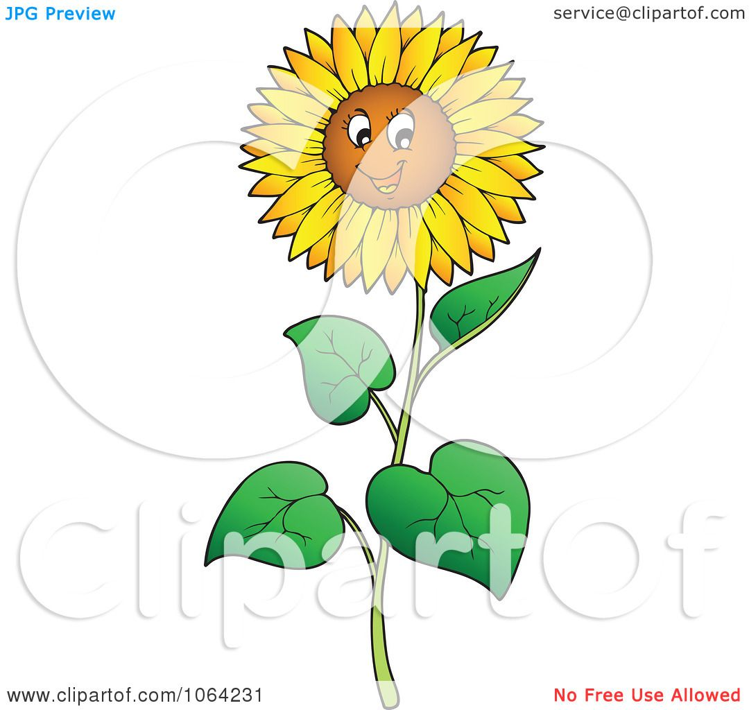Clipart Happy Sunflower - Royalty Free Vector Illustration ...
